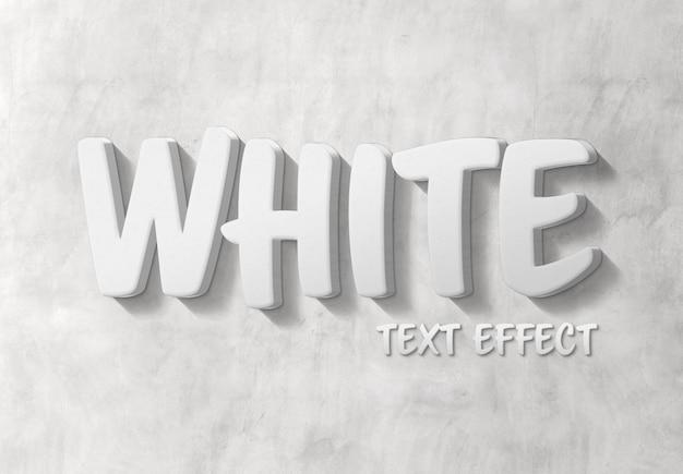 Effetto di testo 3d bianco con ombra mockup Psd Premium