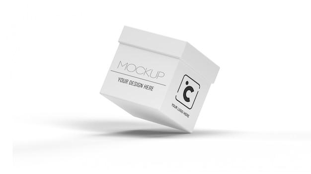 Modello della scatola bianca su fondo bianco con ombra. concetto di imballaggio e contenitore Psd Premium