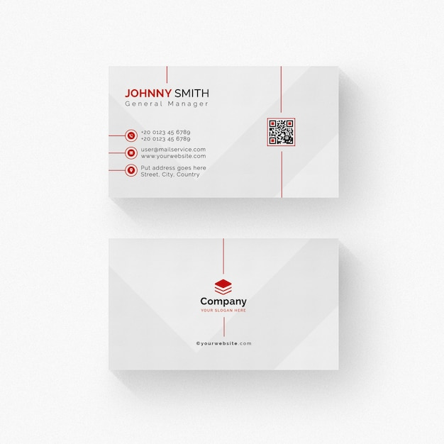 Biglietto da visita bianco con dettagli rossi Psd Premium