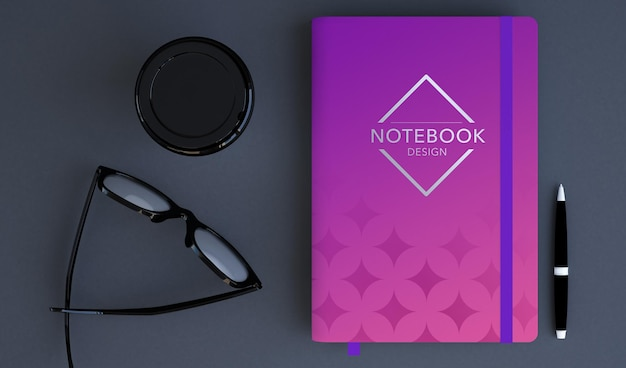 Design mockup notebook bianco in rendering 3d Psd Premium