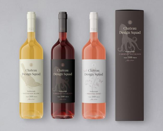Mockup di etichetta di bottiglia di vino Psd Premium