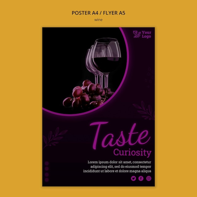 Modello di poster promozionale di vino con foto Psd Premium