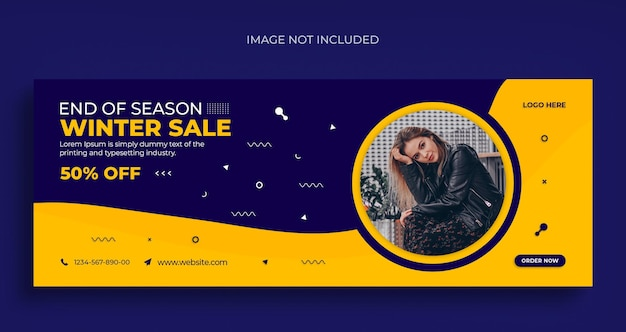 Volantino per banner web di social media di vendita di moda invernale e modello di progettazione di foto di copertina di facebook Psd Premium