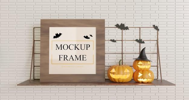 Mockup quadrato in legno halloween sul tavolo a muro Psd Premium