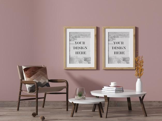 Cornici da parete in legno in un soggiorno di colore rosa con sedia e tavolino Psd Premium
