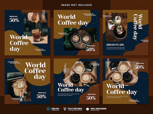 Modello di social media per la giornata mondiale del caffè Psd Premium