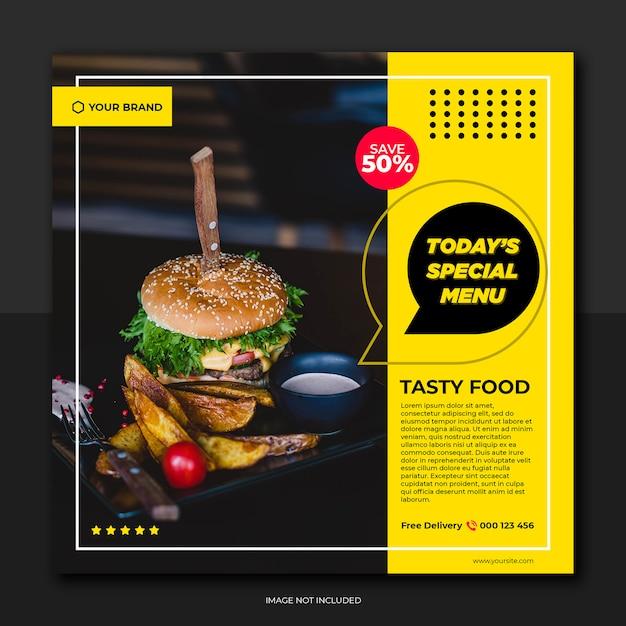 Banner ristorante giallo giallo e menu social media sociali Psd Premium
