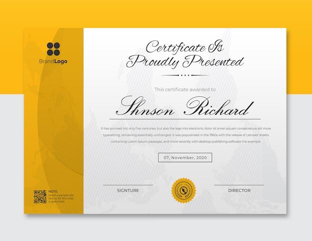Modello struttura certificato onde gialle e nere Psd Premium