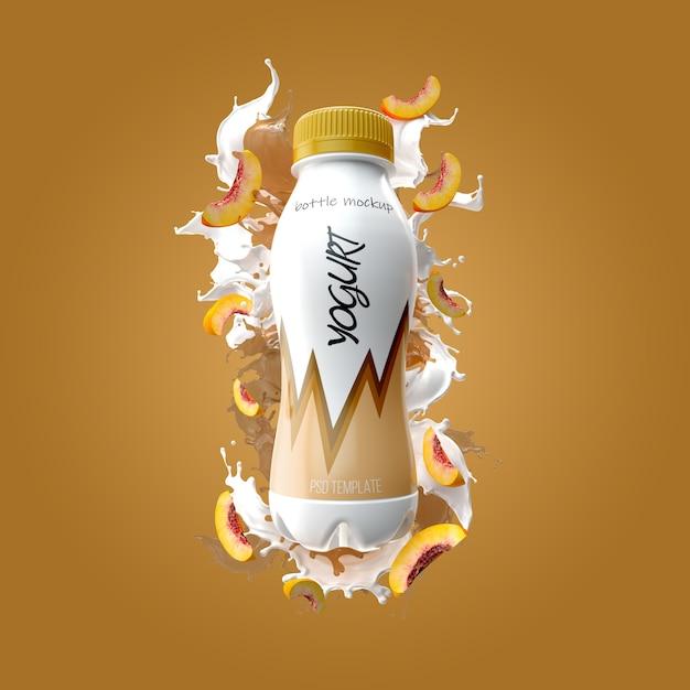 Bottiglia di yogurt con splash e pesca mockup Psd Premium
