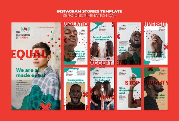 Storie di instagram per il giorno della discriminazione zero Psd Premium