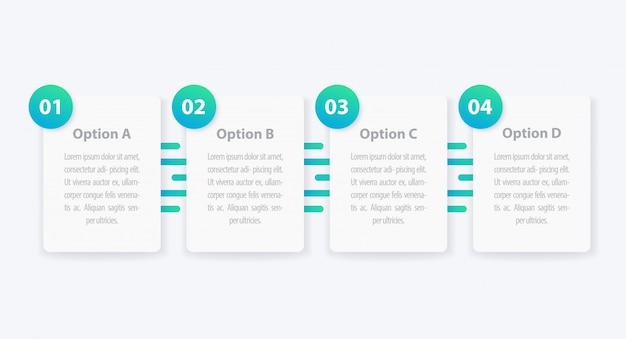 1, 2, 3, 4 passaggi, infografica minimalista, sequenza temporale Vettore Premium