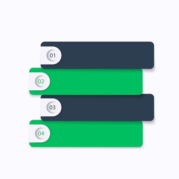 1,2,3,4 passaggi, sequenza temporale, infografiche aziendali Vettore Premium