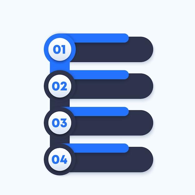 1, 2, 3, 4 passaggi, sequenza temporale verticale, elementi per infografiche aziendali Vettore Premium