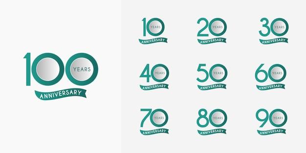 Set di nastri per anniversario da 10 a 100 anni Vettore Premium