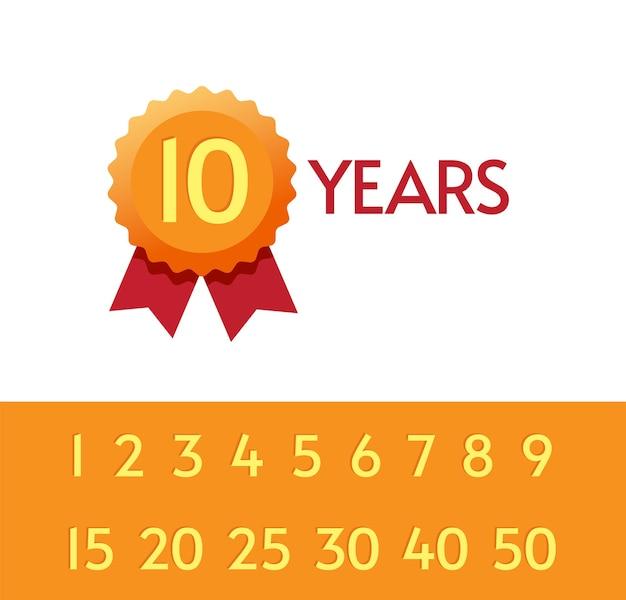 10, 15, 20 anni anniversario icona tag set di simboli Vettore Premium