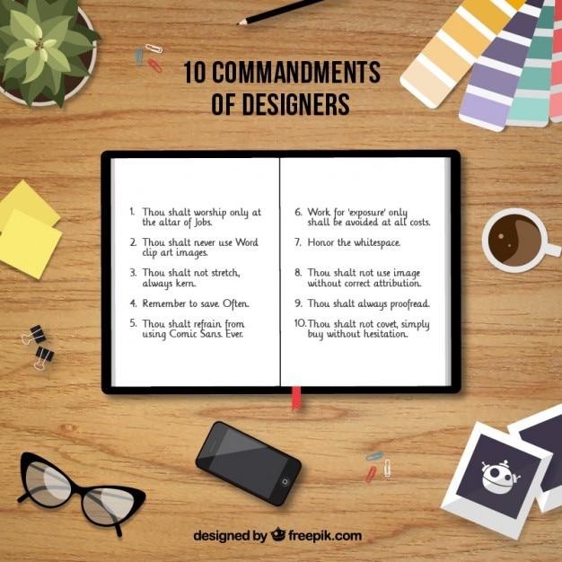10 comandamenti di designer Vettore Premium