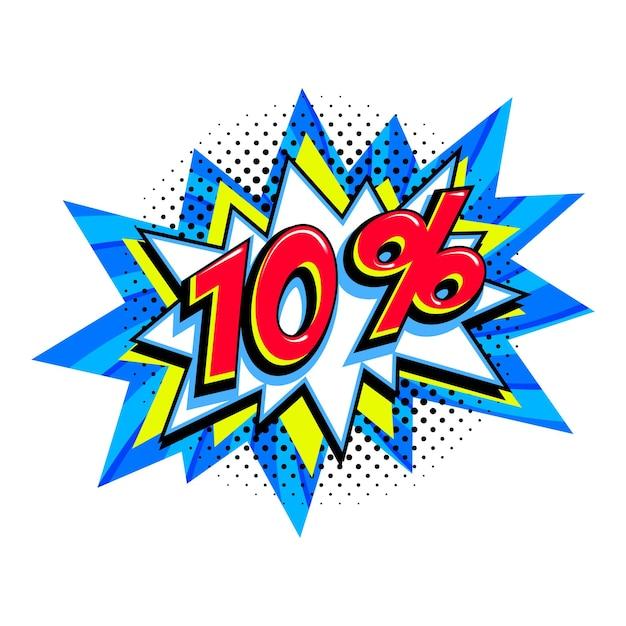 10 di sconto. palloncino scoppio comico blu vendita Vettore Premium