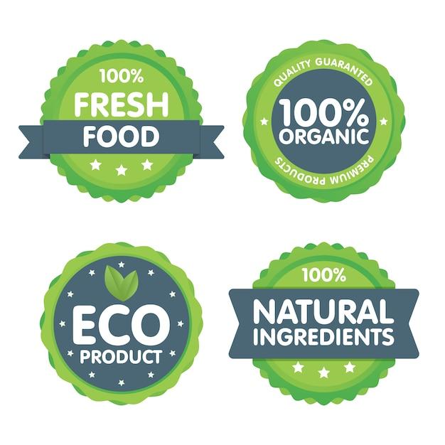Set di francobolli di alimenti freschi biologici al 100%. Vettore Premium