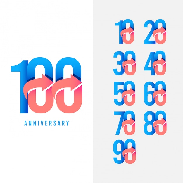 Illustrazione stabilita di progettazione di modello di vettore di logo di anniversario da 100 anni Vettore Premium