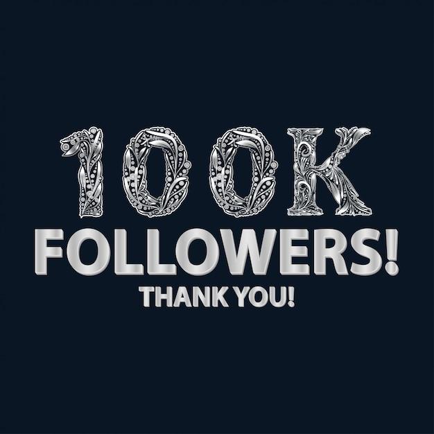 Banner di 100.000 follower o iscritti Vettore Premium