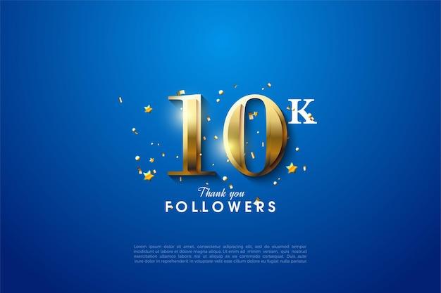 Sfondo di follower 10k con numeri dorati luminosi da parte dei numeri. Vettore Premium