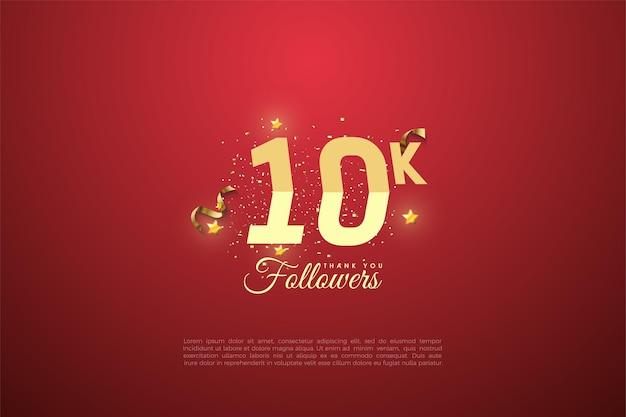 Sfondo 10k follower con numeri graduati e schizzi di sabbia dorata. Vettore Premium