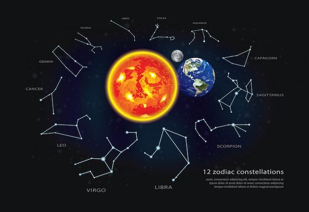 12 costellazioni zodiacali illustrazione vettoriale Vettore Premium
