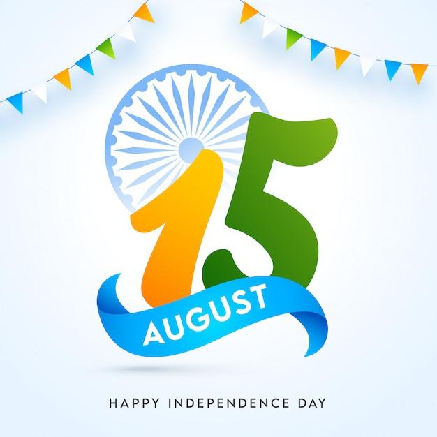 15 agosto testo con la ruota di ashoka e le bandierine dello stamina decorato su fondo lucido per il giorno dell'indipendenza felice. Vettore Premium