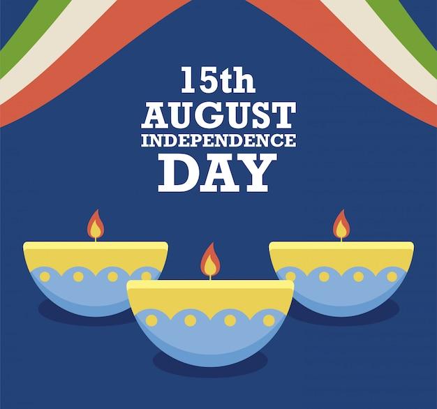 15 agosto festa dell'indipendenza con candele Vettore Premium