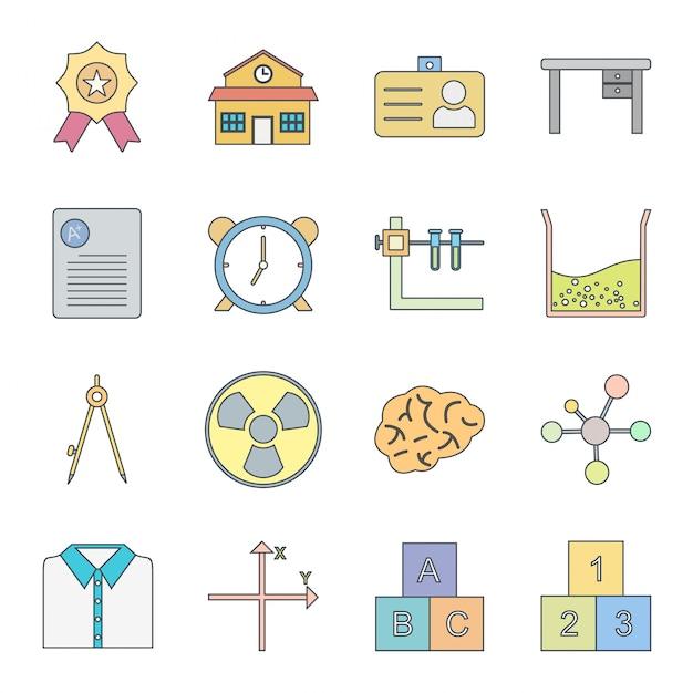 16 set di icone di istruzione per uso personale e commerciale Vettore Premium