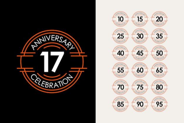 Illustrazione elegante di progettazione del modello di celebrazioni stabilite di anniversario di 17 anni Vettore Premium
