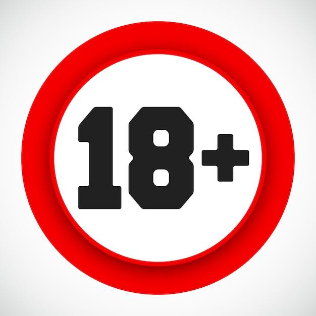 Segno di restrizione di età 18. proibito sotto diciotto anni simbolo rosso. illustrazione vettoriale Vettore Premium