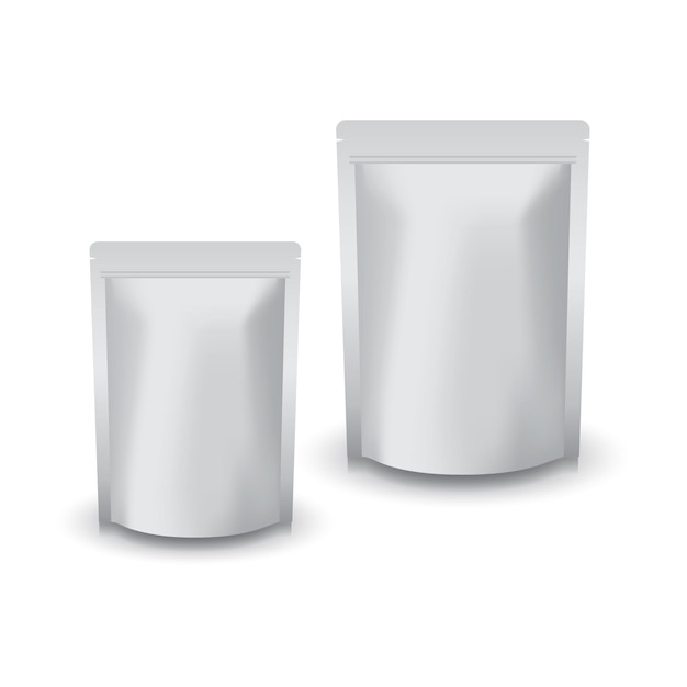 Sacchetto a chiusura lampo in piedi argento vuoto di 2 dimensioni per cibo o prodotto sano. Vettore Premium