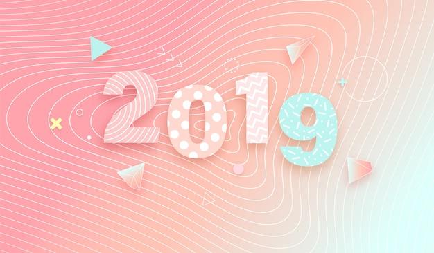 2019 su sfondo sfumato sfumato Vettore Premium
