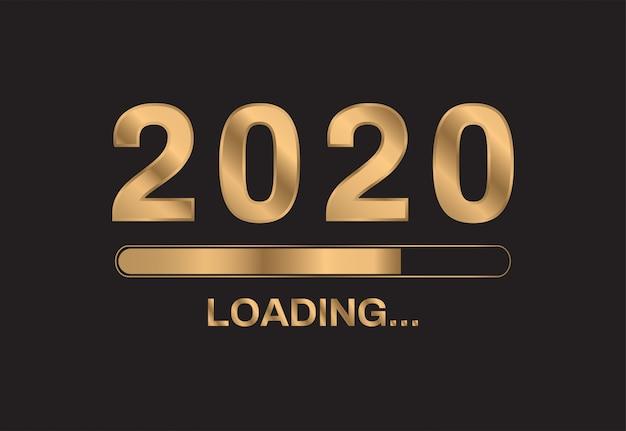 2020 felice anno nuovo su sfondo nero Vettore Premium