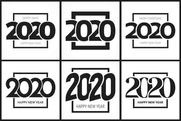 Set di modelli tipografia 2020 felice anno nuovo Vettore Premium
