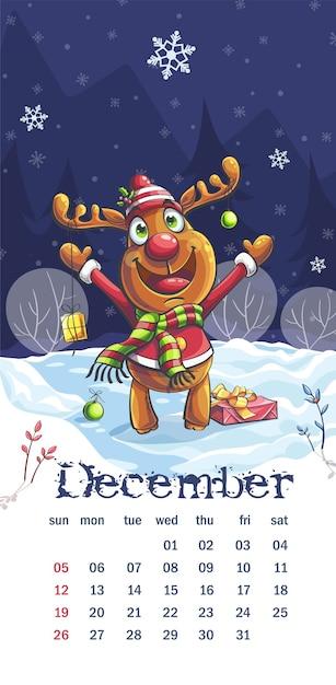 Natale 2021 Calendario.Calendario 2021 Dicembre Cervi Divertenti Del Fumetto Nella Notte Vettore Premium