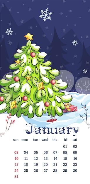 Natale 2021 Calendario.Calendario 2021 Gennaio Vettore Premium