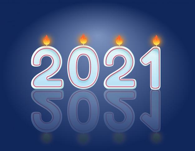 2021 candele concetto di design orizzontale cartolina celebrazione di capodanno. candele accese festive Vettore Premium