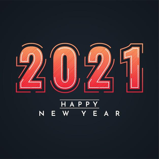 2021 felice anno nuovo design illustrazione Vettore Premium