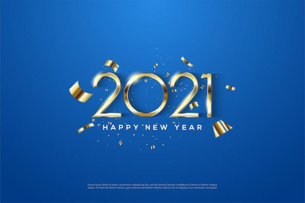 Felice anno nuovo 2021 con eleganti numeri d'oro sottili Vettore Premium