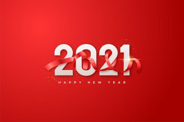 Felice anno nuovo 2021 con numeri bianchi e un nastro rosso che copre i numeri. Vettore Premium