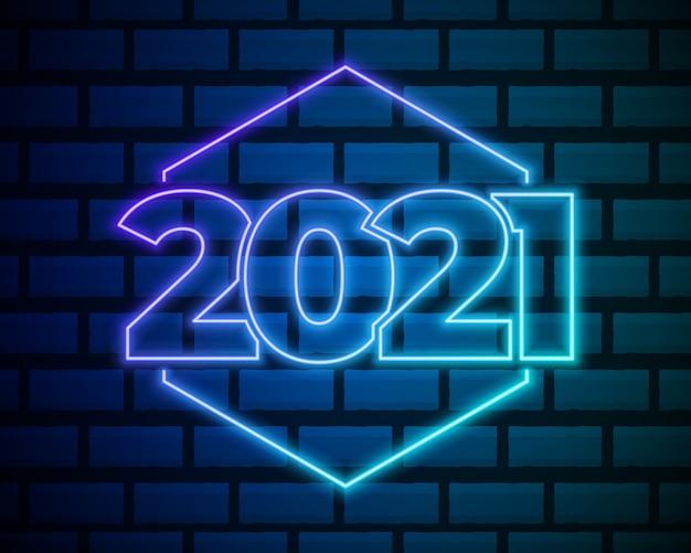 Testo al neon 2021. modello di disegno di nuovo anno 2021. banner leggero. Vettore Premium