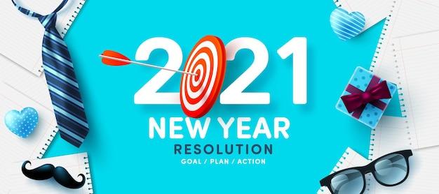 Risoluzione per il nuovo anno 2021 e obiettivo con bersaglio rosso per tiro con l'arco e frecce arciere obiettivi, piani e azioni per il nuovo anno 2021 concept Vettore Premium