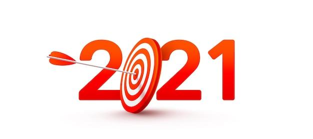 Obiettivo e obiettivi del nuovo anno 2021 con il simbolo del 2021 dal bersaglio del tiro con l'arco rosso Vettore Premium