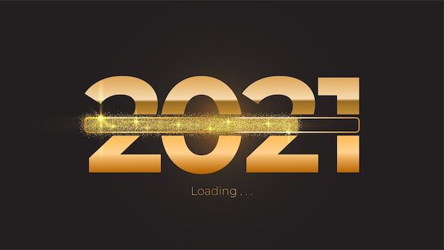 Anno nuovo 2021 con barra di avanzamento del caricamento brillante brillante, glitter dorati e scintillii Vettore Premium