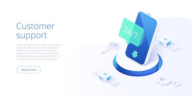 247 concetto di servizio o call center in illustrazione isometrica Vettore Premium
