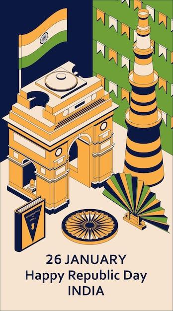 26 gennaio festa della repubblica indiana. biglietto di auguri in stile isometrico con indian gates. Vettore Premium