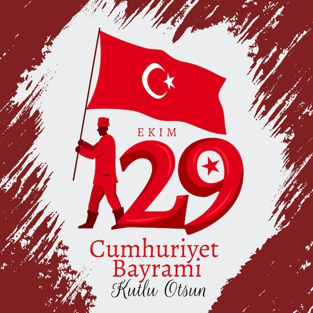 29 ekim indipendenza nazionale turca Vettore Premium