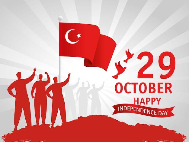 29 ottobre festa della repubblica turchia e gruppo di persone con bandiera Vettore Premium